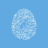 Happy Easter greeting card with cute rabbit and floral elements Royalty Free Stock Photos