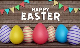 Happy easter greeting card 3d rendering Royalty Free Stock Images