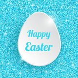 Happy Easter Greeting Card with 3d White Paper Egg Royalty Free Stock Image