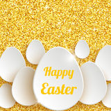 Happy Easter Greeting Card with 3d White Paper Egg Stock Images