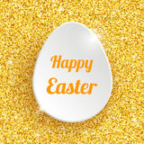 Happy Easter Greeting Card with 3d White Paper Egg Royalty Free Stock Photo