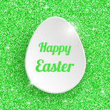 Happy Easter Greeting Card with 3d White Paper Egg Royalty Free Stock Images