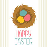 Happy Easter greeting card with decorative nest. Concept can be used for holiday invitations and posters Stock Photos