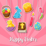Happy Easter greeting card with decorative objects, eggs and bunnies stickers Royalty Free Stock Image