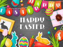 Happy Easter greeting card with decorative objects Royalty Free Stock Image