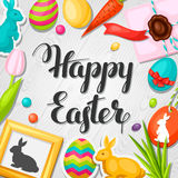 Happy Easter greeting card with decorative objects Stock Photo