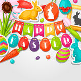 Happy Easter greeting card with decorative objects Stock Image