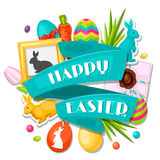 Happy Easter greeting card with decorative objects Royalty Free Stock Images