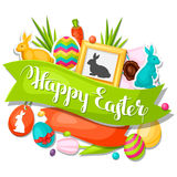 Happy Easter greeting card with decorative objects Stock Photos