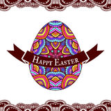 Happy Easter greeting card design with decorative egg, vector il Stock Photo