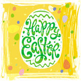 Happy Easter greeting card design labels with egg Stock Photography