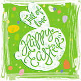 Happy Easter greeting card design labels with rabbit Stock Photography
