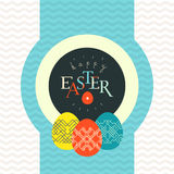 Happy Easter greeting card design. Pained eggs and typography Royalty Free Stock Photography