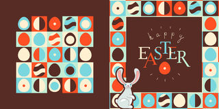 Happy Easter greeting card design. Retro style pattern Royalty Free Stock Photo