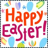 Happy Easter greeting card design template headline hand lettering Stock Image