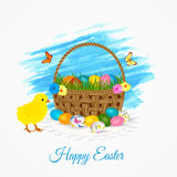 Happy Easter greeting card- easter basket with eggs, yellow chicken and butterflies. Royalty Free Stock Images