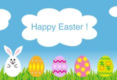 Happy easter greeting card , easter bunny eggs Royalty Free Stock Images