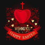 Happy Easter. Greeting card for Easter with cross and big red heart Stock Photo