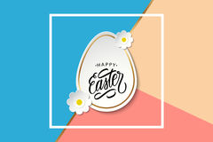 Happy Easter greeting card with easter egg, flowers and handwritten holiday wishes. Stock Images