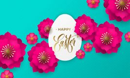Happy Easter greeting card of egg paper cut, spring flowers and gold text on floral pattern background for Easter Hunt holiday Royalty Free Stock Photography