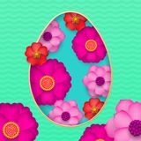 Happy Easter greeting card of egg paper cut and spring flowers pattern background for Easter Hunt holiday papercut Stock Photography