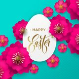 Happy Easter greeting card of egg papercut and flowers vector pattern for Easter Hunt holiday celebration Royalty Free Stock Images