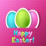 Happy Easter greeting card with eggs Stock Photo