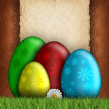 Happy Easter greeting card - eggs and blank space for text. Easter eggs and blank space for text royalty free illustration
