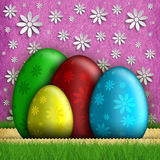Happy Easter greeting card - eggs and flowers Stock Images