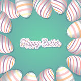 Happy Easter greeting card with eggs frame and lettering.Vector concept for web sites and printed materials in cartoon Stock Photos