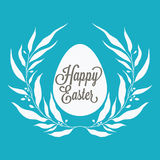 Happy Easter greeting card with floral decorative elements, quot Royalty Free Stock Image