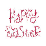 Happy Easter greeting card with floral decorative font, quotes Stock Images