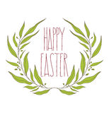 Happy Easter greeting card with floral decorative ornament, quot Stock Photo