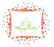 Happy easter greeting card with flower colorful Stock Photo