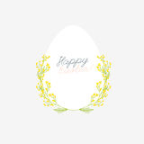 Happy Easter greeting card with flowers eggs and rabbit elements Stock Images
