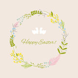 Happy Easter greeting card with flowers eggs and rabbit elements Stock Photos