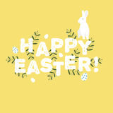Happy Easter greeting card with flowers eggs and rabbit elements Stock Photo
