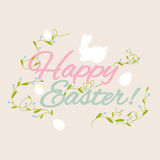 Happy Easter greeting card with flowers eggs and rabbit elements Royalty Free Stock Photo