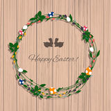 Happy Easter greeting card with flowers eggs and rabbit elements Royalty Free Stock Photos