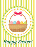 Happy Easter greeting card, flyer, poster with a basket of eggs. Spring cute template for your design. Vector Stock Images