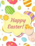 Happy Easter greeting card, flyer, poster with dyed eggs and chick. Spring cute template for your design. Vector Royalty Free Stock Photo
