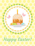 Happy Easter greeting card, flyer, poster with Easter cake and eggs. Spring cute template for your design. Vector Stock Image