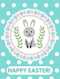Happy Easter greeting card, flyer, poster with rabbit, bunny. Spring cute template for your design. Vector illustration. Stock Photo