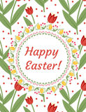 Happy Easter greeting card, flyer, poster with red tulips. Spring cute template for your design. Vector illustration. Royalty Free Stock Images