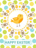 Happy Easter greeting card, flyer, poster with yellow chick. Spring cute template for your design. Vector illustration. Stock Photos