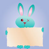 Happy Easter! Greeting Card, Funny Bunny. Rabbit with text-box. Royalty Free Stock Photography