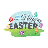 Happy Easter greeting card with funny eggs. Stock Photos