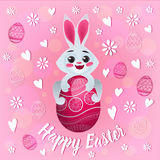 Happy Easter Greeting Card with Funny Rabbit Royalty Free Stock Image