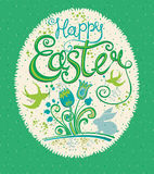 Happy Easter greeting card. Gift egg with grass, flowers, easter bunny and swallows. Vector illustration for holiday Royalty Free Stock Photos