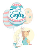 Happy Easter greeting card girl rabbit flying balloons Easter eggs. Royalty Free Stock Photography